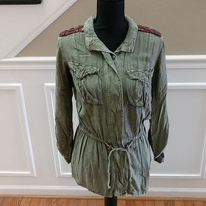 Xs green button up shirt by ANGIE